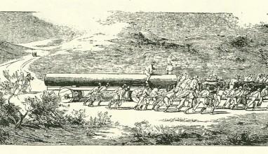 Transport kolumny Zygmunta III. Fragment sztychu W. Hondiusa.